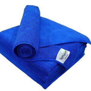 SOFTSPUN Microfiber Cloth - 4 pcs - 40x40 cms - 340 GSM Blue - Thick Lint & Streak-Free Multipurpose Cloths - Automotive Microfibre Towels for Car Bike Cleaning Polishing Washing & Detailing